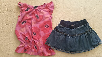 Gap Spring Summer Pink Top Sonoma Jean Skirt Outfit Set Size S 6-7