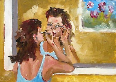 Delilah Girl mirror original figurative oil painting art 5x7 impressionism