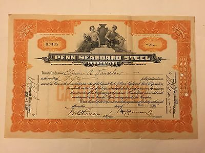 1927 Penn Seaboard Steel Corporation Stock Certificate New York