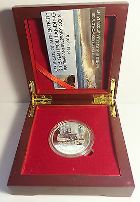 NEW 2015 GALLIPOLI MEMORIAL 1 Oz COIN & Wood Display Box with C.O.A. LTD 1,000