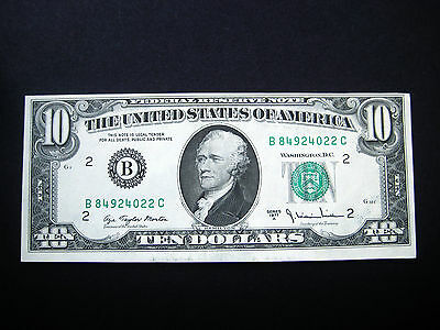 $10 1977 Federal Reserve Note**top Cutting Error** Choice Unc Note