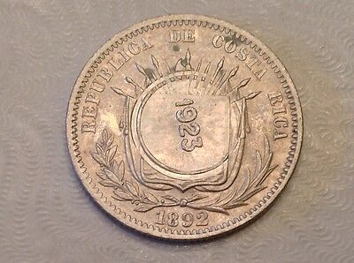 - Costa Rica 1923 / 1892 50 Centimos Choice Uncirculated Unc