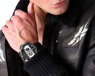 NWT Diesel DZ4361  Men's  Ironside Black Leather Chronograph Watch