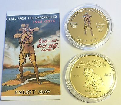 "NEW 2015 GALLIPOLI ""COO-EE"" 1 Oz COIN C.O.A. LTD 1,000  Finished in 999 24k Gold"