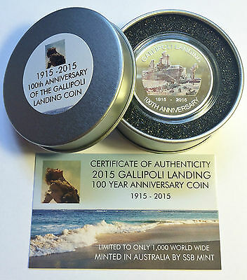 NEW 2015 GALLIPOLI MEMORIAL 1 Oz COIN AND COLLECTORS TIN. C.O.A. LTD 1,000