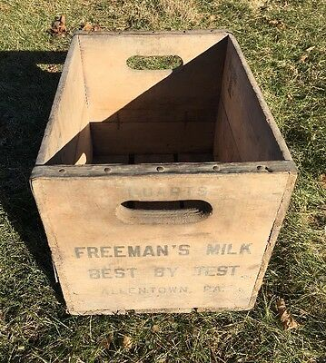 Vintage Freeman's Dairy Milk Wood Crate Bottle Box Allentown Pa