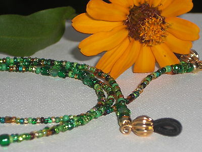 "Eyeglass Chain~Green/Gold Mix~Crystal Accents~GP Fancy Ends~28""~Buy 3 SHIP FREE"