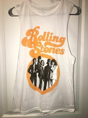 Official Rolling Stones Band Unisex White Tank Top - Small