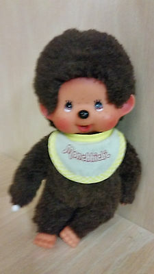 "Vintage Sekiguchi 7"" Monchichi Monchhichi Monkey Japan thumb sucking yellow bib"