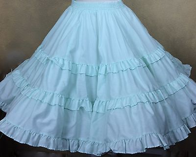 VTG Square Dance Skirt PARTNERS PLEASE Malco Modes Mint Green w Ruffles Size S