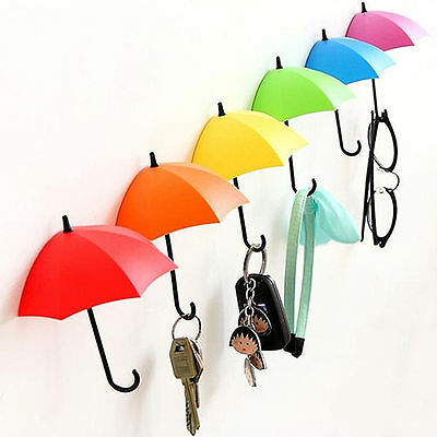 Lovely 3Pcs Colorful Umbrella Wall Hook Hair Pin Key Holder Organizer Decor New