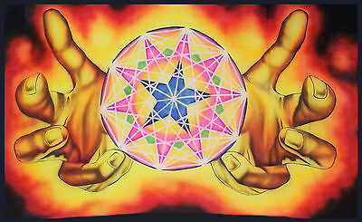 Psychedelic Geometric Wall Hanging Sacred Geometry Tapestry LSD Trippy UV