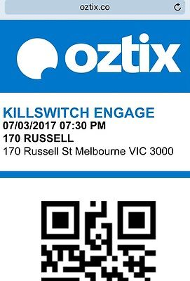 Killswitch Engage Tickets Melbourne X 2