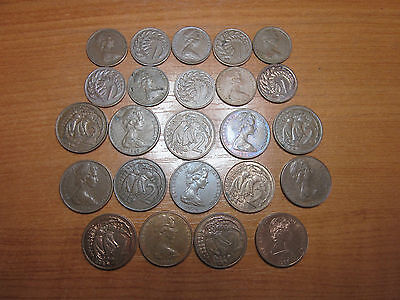 NZ, Copper 1 and 2 cent coin collection. 24 Coins,