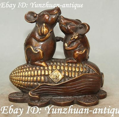 Marked Chinese Bronze Gilt Wealth Money Corn Ruyi Doule Mouse Mice Rat Statue