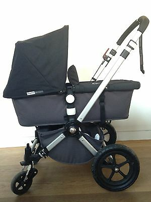 Iconic Bugaboo Cameleon Black / Grey Stroller With Bassinet