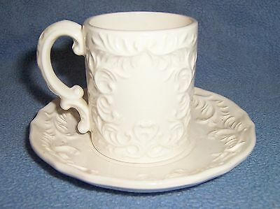 Vintage NAPCO small white MUG CUP SAUCER set hot chocolate expresso w/stickers
