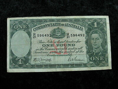 1 old world currency banknote money lot AUSTRALIA 1 pound 1942 P 26 Armitage