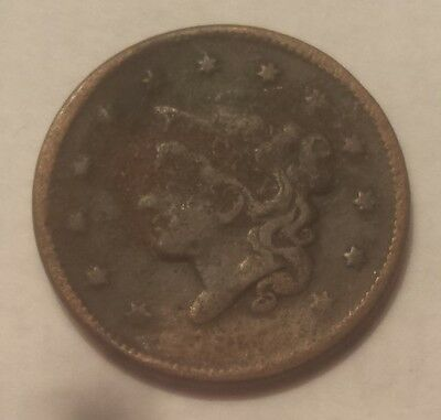 18_ _ United States Coronet Head Large Cent Coin (Worn Date)