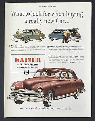 1949 Kaiser Caribbean Coral Original Advertisement Color Vintage Car AD