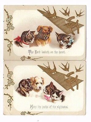 2 Victorian Trade Cards (Religious Quotes,Dogs,Cats & Kittens)