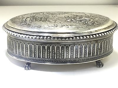 Antique German Silver (80%) Repousse Jewelry Box/Approx 17.5 Oz