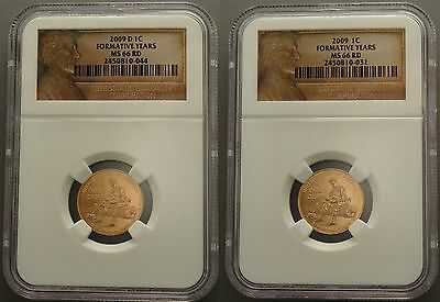 2009 P & D Set 1C Formative Years Lincoln Cent Ms66 Ngc Lp2 Red