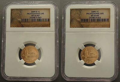2009 P & D Set 1C Professional Life Lincoln Cent Ms66 Ngc Lp3 Red