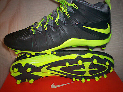 Nike Mens Huarache 4 Lax Cleats NIB Size 11 Dk Grey/Volt Green 616296-007