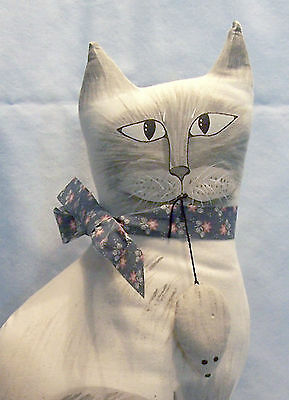 SIAMESE FABRIC CAT with MOUSE WEIGHTED DOOR STOP 14 ½ inches high SIGNED JAMA