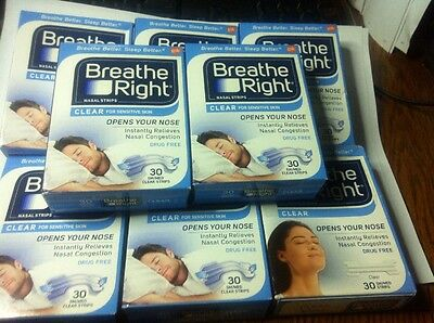 Lot Of 8 BREATHE RIGHT NASAL STRIPS SM /MED CLEAR (240) Strips