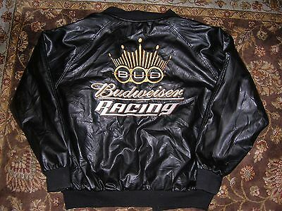 BUDWEISER RACING Faux LEATHER Jacket/Coat, Size ADULT S