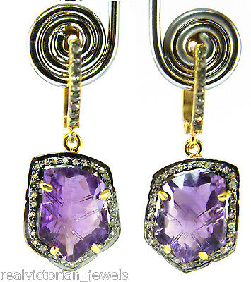 Stunning Rose Cut Diamond & Natural Fine Fancy Shape Amethyst Stone Earring