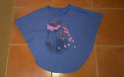 Girls Size 12 Purple Top With Horse Print