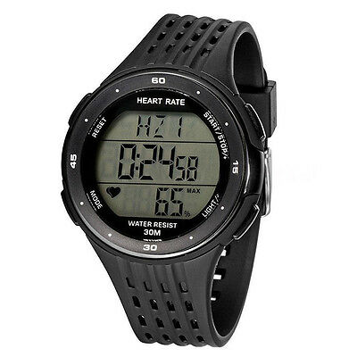 Fitness Sport Digital Watch Pulse Heart Rate Monitor & Chest Strap Black  G8O1