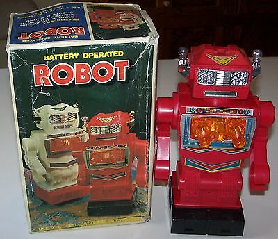 "ROBOT 10"" BATTERY OPERATED SPACE TOY in Original BOX MADE IN JAPAN"