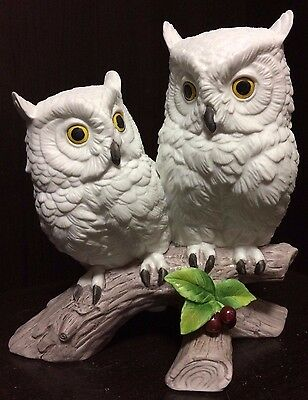 Andrea by Sadek White Snow Owls Porcelain Bird Figurine Berries Snowy Double Owl