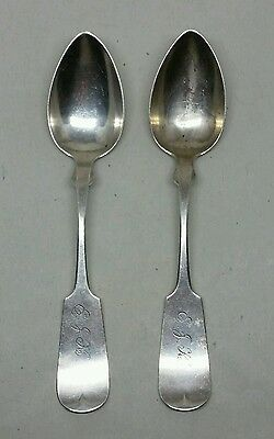 Pair of 19th Century American Coin Silver Tea Spoons