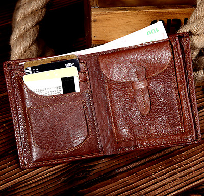 New Men's Genuine Leather Bifold Wallet Credit/ID Card Holder Slim Coin Purse A4