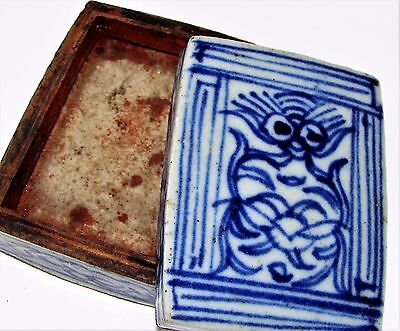 Antique Chinese Qing Porcelain Ink Box Blue & White Ink Pot c.1850-1899 Wax Seal