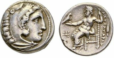 Ancient Greek Coin Alexander the Great Silver Drachm Herakles Zeus 336-323 BC.