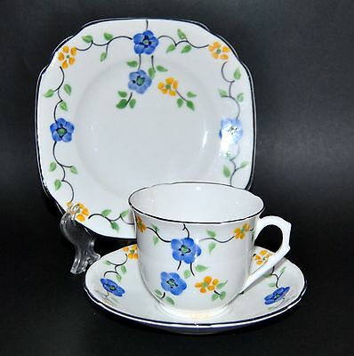 Beautiful Vintage Melba Hand Painted Floral Art Deco English Bone China Trio