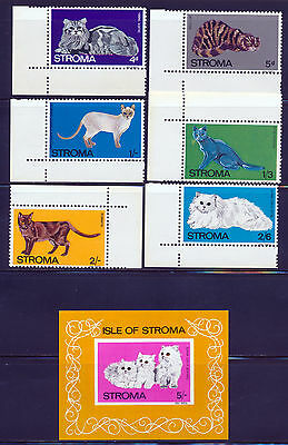 Isle Of Stroma Scotland 1969 Cats Issue With Imperf Souvenir Sheet