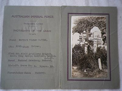 Australian WW1 grave photo in original folder. France. AIF.