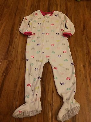 Carters Toddler Girls 1-Piece Fleece PJs Pajamas White With Bows 3T NWOT