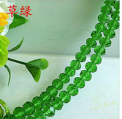 Jewellery 70pcs Rondelle Faceted crystal beads 8x6 mm green