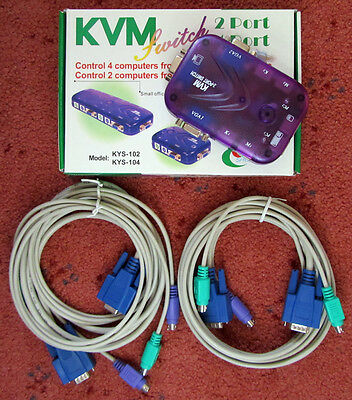 2-port PS/2 and VGA KVM Switch, includes 1.5m cables