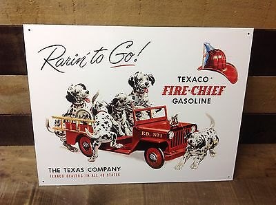 TEXACO FIRE CHIEF GASOLINE Sign Tin Vintage Garage Bar Decor Old Rustic