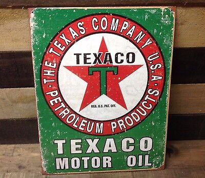 TEXACO PETROLEUM PRODUCTS GASOLINE Sign Tin Vintage Garage Bar Decor Old Rustic