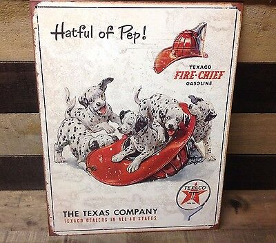 TEXACO HATFUL OF PEP GASOLINE Sign Tin Vintage Garage Bar Decor Old Rustic